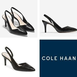 Cole Haan Black Highline Pointy-Toe Sling Lizard